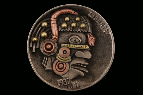 """Steampunk Robohobo"" copper and brass inlay Hobo nickel"