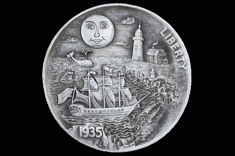 """Sailing Home Across the Ocean"" Hobo nickel"