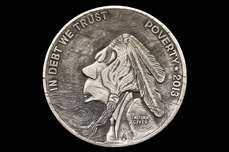 """$1 Trillion Wooden Nickel"" Hobo nickel"