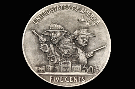 """3D – Triple Danger"" Hobo nickel"