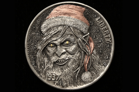 """Bad Santa"" Hobo nickel with gold and copper inlay"