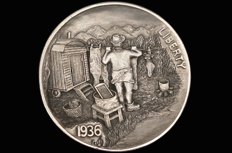 """Hobo Joe – Laundry Day"" Hobo nickel"