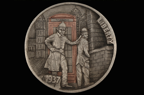 """Caught in the Act"" Hobo nickel with copper inlay"